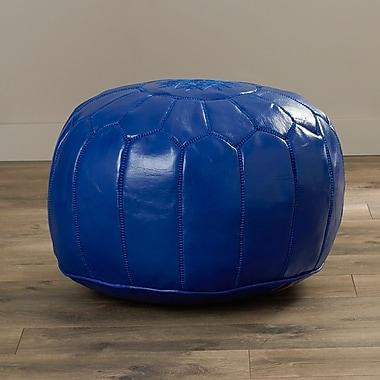 Mistana Carolos Pouf Leather Ottoman; Navy Blue