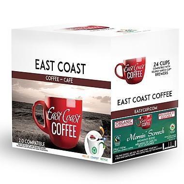 East Coast Coffee – Mélange bio du petit déjeûner Mornin' Screech, torréfaction légère, velouté, recyclable