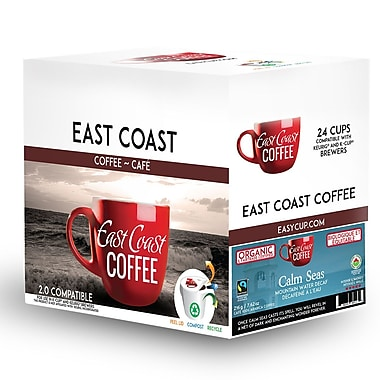 East Coast Coffee – Café décaféiné Calm Seas, bio, foncé, recyclable, paq./24