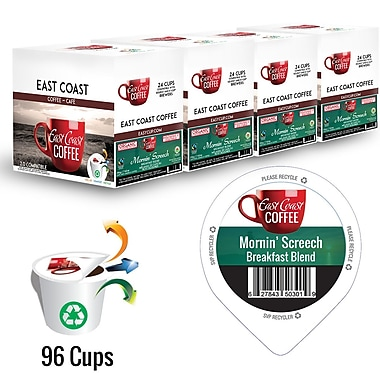 East Coast Coffee Mornin' Screech, Organic, Breakfast Blend, Light Roast, Smooth, Recyclable, 96/Pack