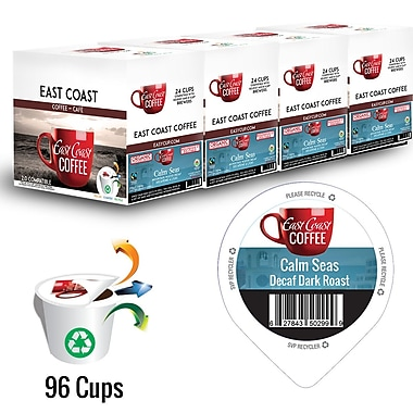 East Coast Coffee – Café décaféiné Calm Seas, bio, foncé, recyclable, paq./96