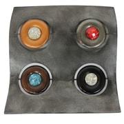 Cathay Importers – Décorations murales carrées en métal incrustées de joyaux (EC-22-0132)