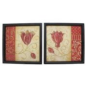 Cathay Importers – Décorations murales assorties en bois, motif floral, bois noir (EC-24-0024)