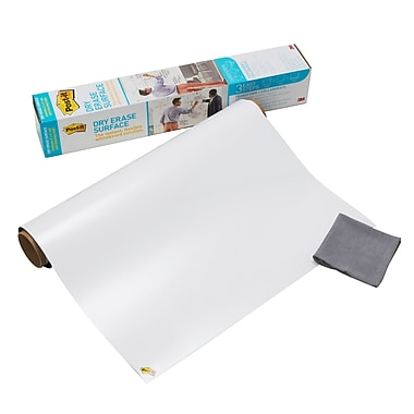 Post-it® - Surface effaçable à sec, 3 pi x 2 pi, blanc