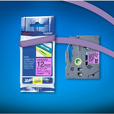 Brother Label Tape 4m, Pastel Purple, Matte Laminated