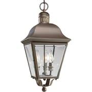 Alcott Hill Triplehorn 3-Light Hanging Brass Lantern; Bronze