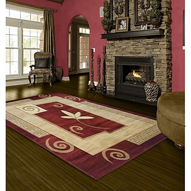 Winston Porter Winnie Floral Red/Beige Area Rug; 8' x 11'