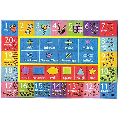 Weranna Math Symbols Numbers and Shapes Educational Learning Blue/Red Indoor/Outdoor Area Rug