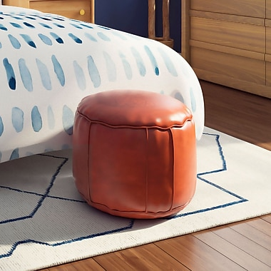 Ivy Bronx Neasa Fez Leather Ottoman; Dark Orange