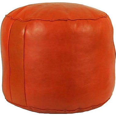 Ivy Bronx Neasa Fez Leather Ottoman; Orange