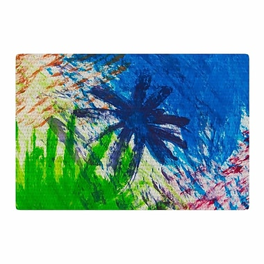 East Urban Home NL Designs Splatter Stars Abstract Painting Blue/Green Area Rug; 2' x 3'