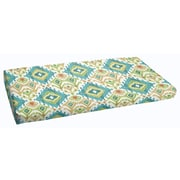 Mistana Cecelia Fabric Outdoor Bench Cushion; Blue/Green