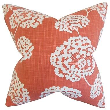 August Grove Jillian Floral Throw Pillow Cover; Coral