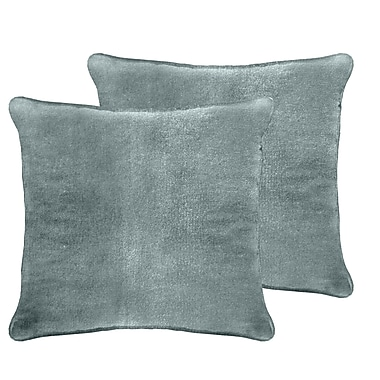 Darby Home Co Ted Velvet Euro Pillow (Set of 2); Blue Smoke