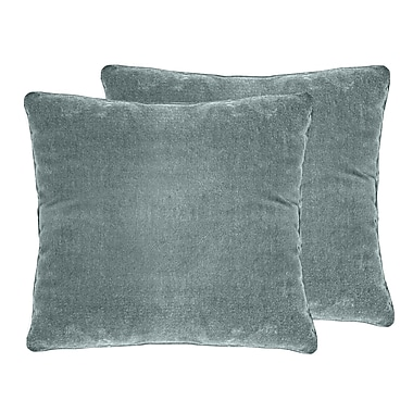 Darby Home Co Ted Velvet Throw Pillow (Set of 2); Blue Smoke