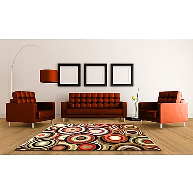 Ebern Designs Darcelle Geometric Red/Brown Area Rug; 5' x 8'