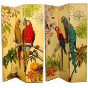Bay Isle Home Fruitland 71'' x 47'' Double Sided Parrots 3 Panel Room Divider