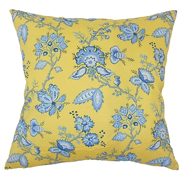 August Grove Goetz Floral Down Filled 100pct Cotton Throw Pillow; 18'' x 18''