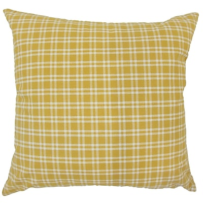 August Grove Schiers Plaid Down Filled 100pct Cotton Throw Pillow; 24'' x 24''