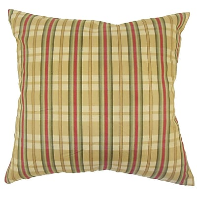 August Grove Payton Plaid Floor Pillow Gold
