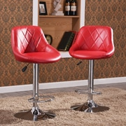 Orren Ellis Morley Modern Adjustable Height Swivel Bar Stool (Set of 2); Burgundy