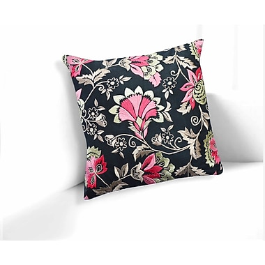 Astoria Grand Ravens Black-Pink Primrose Floral Throw Pillow