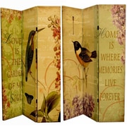 August Grove Manon 71'' x 47'' Double Sided Bird and Quotations 3 Panel Room Divider
