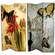 August Grove Manon 71'' x 47'' Double Sided Flowers and Butterflies 3 Panel Room Divider