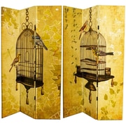 August Grove Manon 71'' x 47'' Double Sided Birds and Cage 3 Panel Room Divider