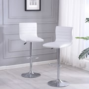 Orren Ellis Morley Adjustable Height Swivel Bar Stool (Set of 2); White