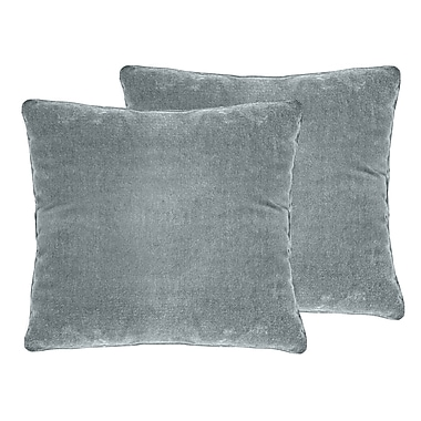 Darby Home Co Ted Velvet Throw Pillow (Set of 2); Silver