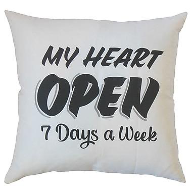 Latitude Run Dunnam My Heart Open Text White Floor Pillow