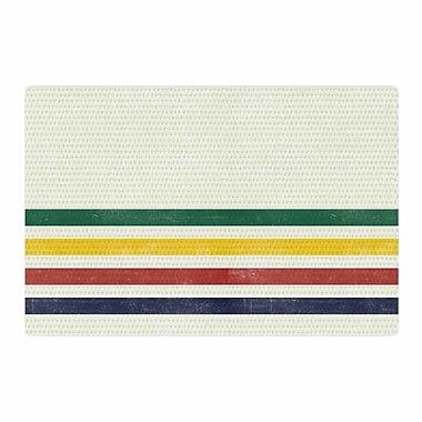 East Urban Home Draper Eagle Scout Stripes Green/Beige Area Rug; 4' x 6'