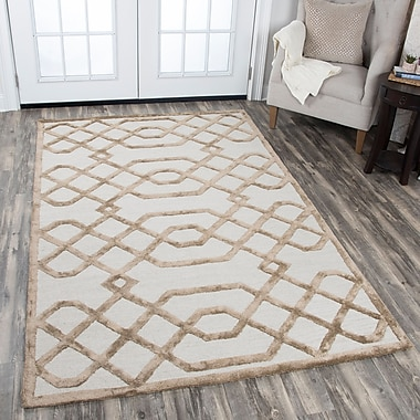 Mercer41 Fabian Geometric Hand Tufted Wool Cream Area Rug; 5' x 8'