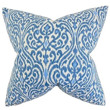 Mistana Emmaus Ikat Cotton Throw Pillow; Blue