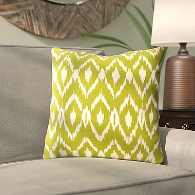 Mistana Harrell Ikat Cotton Throw Pillow; Green