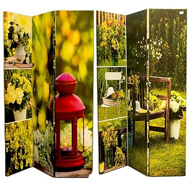August Grove Manon 71'' x 47'' Double Sided Garden Landscapes 3 Panel Room Divider