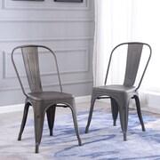 Ebern Designs Derrall Modern Vintage Stackable Chic Bistro Cafe Dining Chair (Set of 2); Bronze