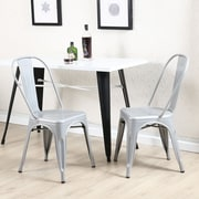 Ebern Designs Derrall Modern Vintage Stackable Chic Bistro Cafe Dining Chair (Set of 2); Silver