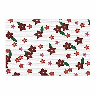 East Urban Home NL Designs Holiday Floral Pattern White Area Rug; 4' x 6'