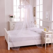 Casablanca Kids Buttons and Bows Kids Collapsible Hoop Sheer Bed Canopy; White by
