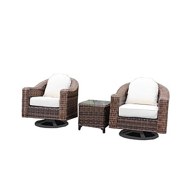 Bayou Breeze Geddes 3 Piece Deep Seating Group w/ Cushion; Brown