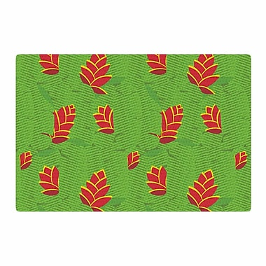 East Urban Home Yenty Jap Heliconia Green/Red Area Rug; 4' x 6'