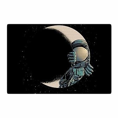East Urban Home Digital Carbine Crescent Moon Illustration Black Area Rug; 4' x 6'