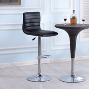 Orren Ellis Morley Adjustable Height Swivel Bar Stool (Set of 2); Black