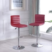 Orren Ellis Morley Adjustable Height Swivel Bar Stool (Set of 2); Burgundy