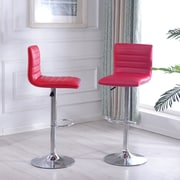 Orren Ellis Morley Adjustable Height Swivel Bar Stool (Set of 2); Red