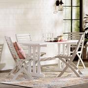 Mistana Donatien Acacia 7 Piece Patio Dining Set; Antique White
