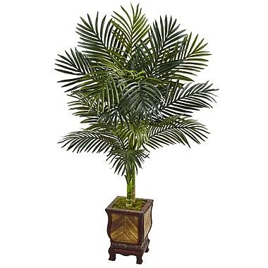 Bayou Breeze Artificial Golden Cane Floor Palm Tree in Planter