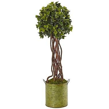 Gracie Oaks Artificial English Ivy Floor Ivy Topiary in Planter